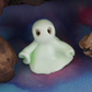 Ghost Gnome under sheet glow-in-the-dark OOAK Sculpt by Ann Galvin