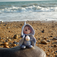 "Tiny Beach Gnome 'Loren' with Sea-pearl 1.5"" OOAK Sculpt by Ann Galvin"
