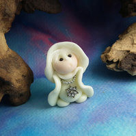 Ghost Gnome 'Winnie' with jewels glow-in-the-dark OOAK Sculpt by Ann Galvin