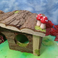 Gnome-Home Wooden House magical toadstools OOAK Sculpt Ann Galvin Gnome Village