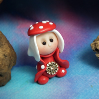 Tiny Toadstool Gnome with fly agaric hat 'Sadie' OOAK Sculpt by Ann Galvin