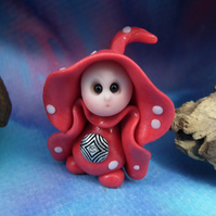 Tiny Toadstool Gnome with fly agaric robes 'Ilkk' OOAK Sculpt by Ann Galvin
