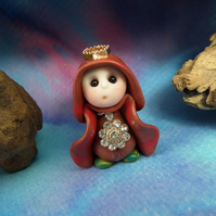 Princess 'Henn' Tiny Royal Gnome with Crown Jewels OOAK Sculpt by Ann Galvin