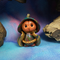 Pumpkin-head Gnome 'Dug' Halloween OOAK Sculpt by Ann Galvin