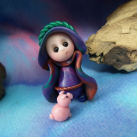 Tiny Gnome Pig-keeper with Piglet Pig OOAK Sculpt by Ann Galvin Gnome Village