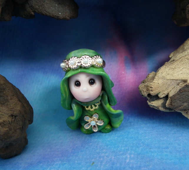 Princess 'Ghil' Tiny Royal Gnome with Crown Jewels OOAK Sculpt by Ann Galvin