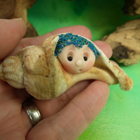 "ShellDweller Gnome in 3"" seashell OOAK Sculpt Ann Galvin Gnome Village"