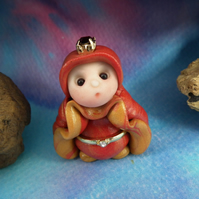 Princess 'Thora' Tiny Royal Gnome with Crown Jewels OOAK Sculpt by Ann Galvin