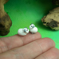 "Pair of tiny lambs sheep .5"" sheep OOAK Sculpt by Ann Galvin Gnome Village"