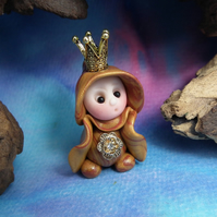 Princess 'Odi' Tiny Royal Gnome with Crown Jewels OOAK Sculpt by Ann Galvin