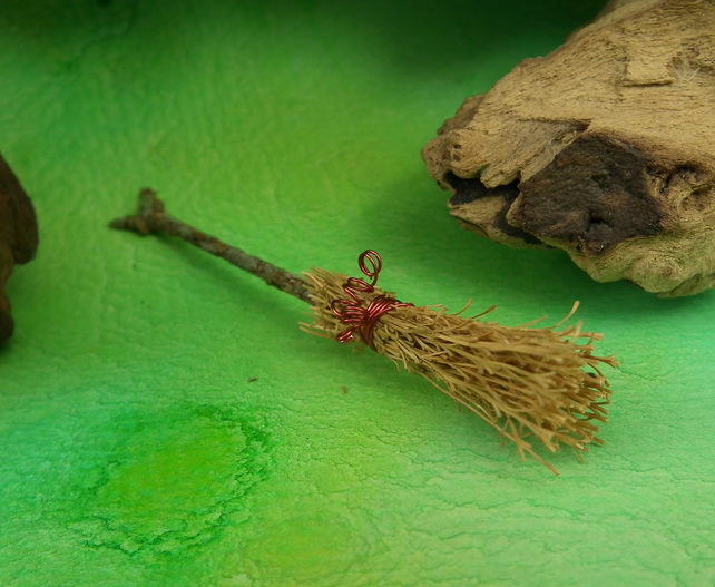 "Tiny Witch's Broom Broomstick 3"" OOAK Sculpt by Ann Galvin"