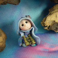 Tiny Gnome Maiden 'Toria' with binoculars OOAK Sculpt by Ann Galvin