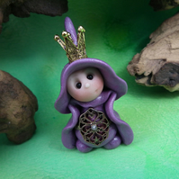 Queen 'Prae' Tiny Royal Gnome with Crown Jewels OOAK Sculpt by Ann Galvin