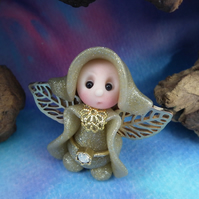 Tiny Flurrier Angel Gnome 'Mahri' with golden wings OOAK Sculpt by Ann Galvin