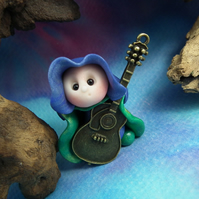 Tiny Guitarist Gnome 'Jedd' with metal guitar OOAK Sculpt Ann Galvin