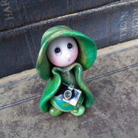 Tiny Gnome Photographer 'Roland' with camera OOAK Sculpt by Ann Galvin