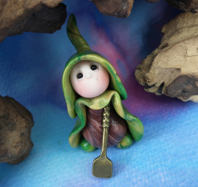 "Tiny Gardening Gnome digging with spade 'Doug' 1.5"" OOAK Sculpt by Ann Galvin"