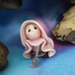 "Tiny Gnome Maiden sweeping with broom 'Poll' 1.5"" OOAK Sculpt by Ann Galvin"