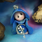 "Tiny Gnome Maiden with fairy charm 'Xia' 1.5"" OOAK Sculpt by Ann Galvin"