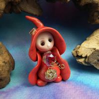 January Garnet Birthstone Gnome 'Verna' OOAK Sculpt by Ann Galvin