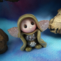 Tiny Flurrier Angel Gnome 'Tua' with golden wings OOAK Sculpt by Ann Galvin