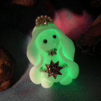 Ghost Gnome 'Dahlia' with jewels glow-in-the-dark OOAK Sculpt by Ann Galvin