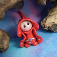 Tiny Toadstool Gnome with fly agaric robes 'Carys' OOAK Sculpt by Ann Galvin