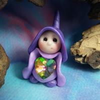 "Tiny Mother's Day heart Gnome 1.5"" OOAK Sculpt by Ann Galvin"