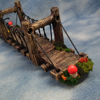 Gnome Bridge with magical toadstools OOAK Sculpt Ann Galvin Gnome Village