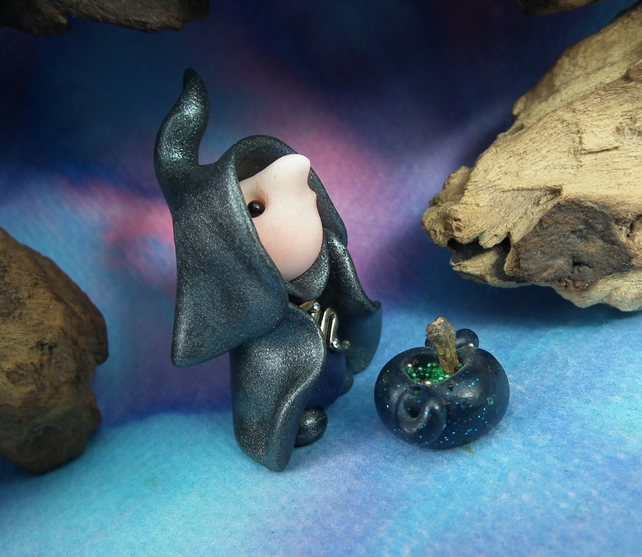 "Tiny Witch Gnome 'Acra' 1.5"" with cauldron OOAK Sculpt by Ann Galvin"