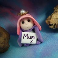 "Tiny 'Mon' Mother's Day Gnome with 'Mum Card' 1.5"" OOAK Sculpt by Ann Galvin"