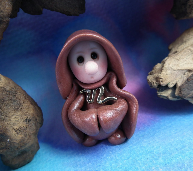 "Tiny Gnome Monk 'Brother Osten' 1.5"" OOAK Sculpt by Ann Galvin Gnome Village"