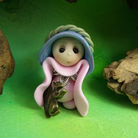 Tiny Squirrel Whisperer Gnome Maiden 'Pollie' OOAK Sculpt by Ann Galvin