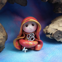 "Tiny Keykeeper Gnome 'Laina' with Vault Key 1.5"" OOAK Sculpt by Ann Galvin"