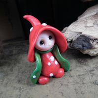 Tiny Toadstool Gnome with fly agaric robes 'Bea' OOAK Sculpt by Ann Galvin
