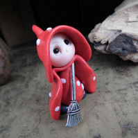 Tiny Toadstool Gnome with fly agaric robes 'Enid' OOAK Sculpt by Ann Galvin