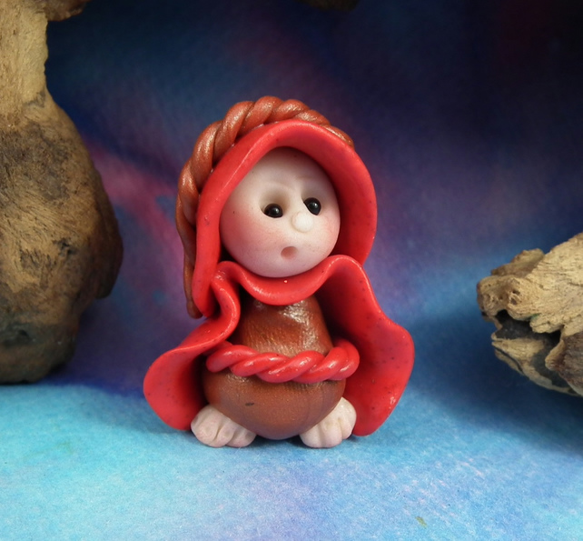 Tiny Toadstool Gnome with red robes 'Farla' OOAK Sculpt by Ann Galvin