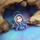 Tiny Flurrier Angel Gnome 'Hanna' with silver star wings OOAK Sculpt Ann Galvin
