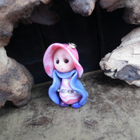 "Tiny Gnome Maiden 'Ina' 1.5"" OOAK Sculpt by Ann Galvin"