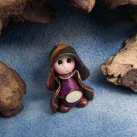 "Tiny Gnome Maiden 'Cress' 1.5"" OOAK Sculpt by Ann Galvin"
