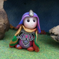 Princess 'Joell' Tiny Royal Gnome with jewels OOAK Sculpt by Ann Galvin