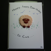 "Handcrafted 'Ewe' card by Ann Galvin A5 5""x7"""