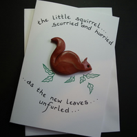 "Handcrafted squirrel card by Ann Galvin A5 5""x7"""
