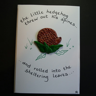 "Handcrafted hedgehog card by Ann Galvin A5 5""x7"""