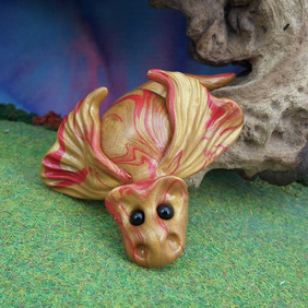 Variegated Golden Dragon 'Galaxy' OOAK Sculpt by artist Ann Galvin Gnome Village