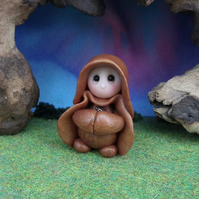 "Tiny Gnome Monk 'Brother Osmund' 1.5"" OOAK Sculpt by Ann Galvin Gnome Village"
