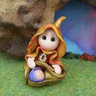 Tiny Mama Gnome 'Clover' with Baby 'Drew' in carrier OOAK Sculpt by Ann Galvin