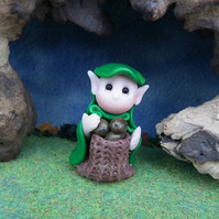 "Woodland Gnome 'Declan' with potato sack 1.5"" OOAK Sculpt by Ann Galvin"