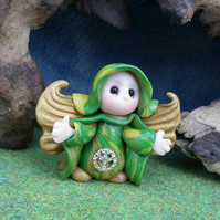 Angelic Flurrier Gnome 'Meryl' with gold wings OOAK Sculpt by Ann Galvin