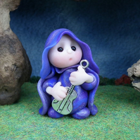 Tiny Guitarist Gnome 'Davidd' with metal guitar OOAK Sculpt Ann Galvin